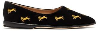 Chloé Horse Embroidered Velvet Slippers - Womens - Black