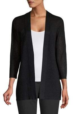 Cable & Gauge Textured Open-Front Cardigan