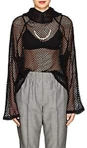 BLINDNESS Women's Embellished Mesh-Knit Hoodie-Black