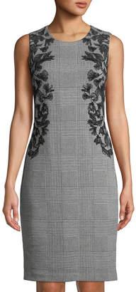 Iconic American Designer Leaf-Embroidered Glen-Check Sleeveless Sheath Dress