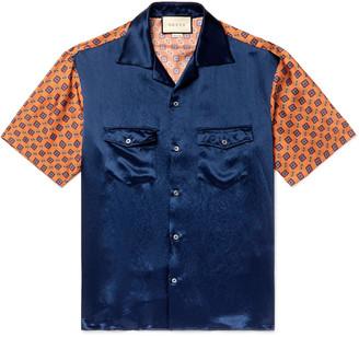 Gucci Camp-Collar Satin and Printed Silk-Twill Shirt - Men - Blue