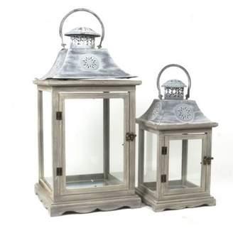 One Allium Way Traditional 2 Piece Wood/Metal Lantern Set