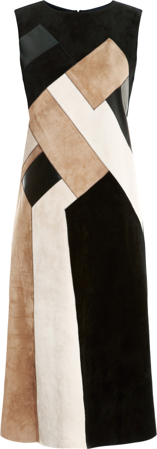 Derek Lam Wool Dress with Suede & Leather Insets