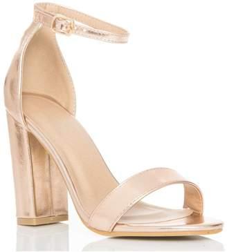 Quiz Rose Gold Block Heel Sandals