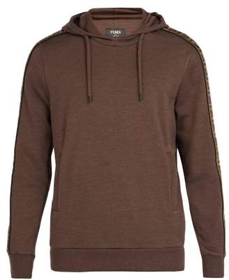 Fendi Logo Jacquard Tape Hooded Sweatshirt - Mens - Brown