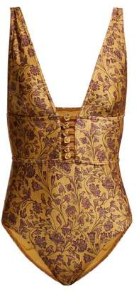 Zimmermann Juniper Button Front Swimsuit - Womens - Gold Multi