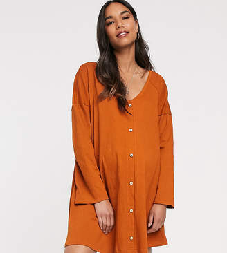 Asos DESIGN Maternity mini button through swing dress in texture
