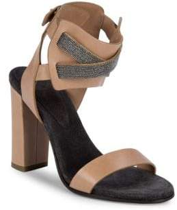 Brunello Cucinelli Studded Leather Block Heel Sandals