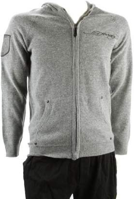 Ed Hardy Mens Eagle Zip Up Hooded Sweater Grey