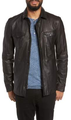 John Varvatos Oiled Lambskin Leather Shirt Jacket