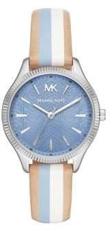 Michael Kors Lexington Three-Hand Striped Leather Strap Watch