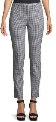 Michael Kors Gingham Side-Zip Straight-Leg Stretch-Cotton Pants
