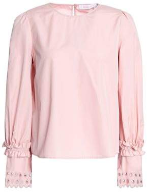 See by Chloe Broderie Anglaise-trimmed Cotton-poplin Top