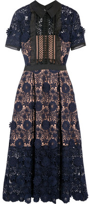 Self-Portrait - Camilla Chiffon-trimmed Guipure Lace Dress - Navy $410 thestylecure.com