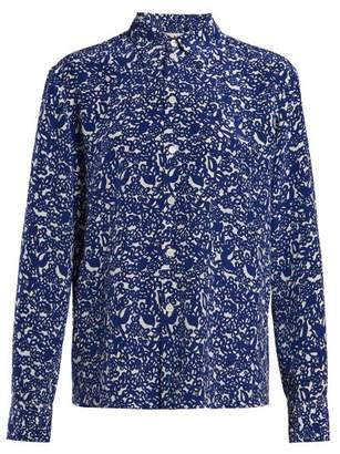 Marni Floral Print Silk Crepe Blouse - Womens - Blue White