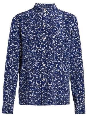 Marni Floral Print Silk Crepe Blouse - Womens - Blue White
