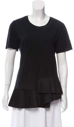 Thakoon Pleated Short Sleeve Top