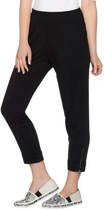 Logo By Lori Goldstein LOGO Lounge by Lori Goldstein French Terry Crop Pants w/ Zipper Detail