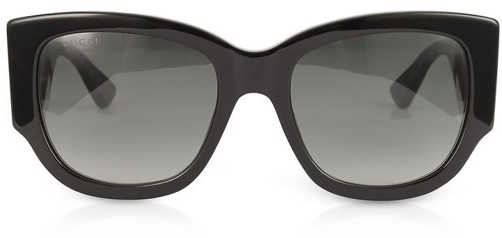 Gucci GG0276S Black Oversize Cat Eye Acetate Sunglasses w/Sylvie Web Temples