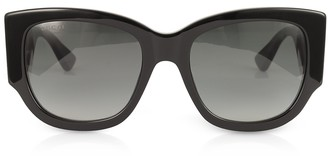 ce06f9f9caf Gucci GG0276S Black Oversize Cat Eye Acetate Sunglasses w Sylvie Web Temples