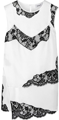 DKNY - Layered Lace-trimmed Stretch-silk Blouse - White $520 thestylecure.com