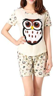 VENTELAN Women s Cute Owl Printed Sleepwear Pajama Sets Comfy Summer Shorts cae3302ee