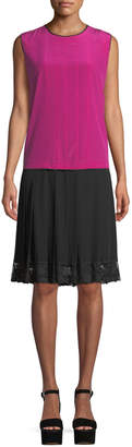 Marc Jacobs Jewel-Neck Sleeveless Pleated Mixed-Media Silk Dress w/ Lace Hem