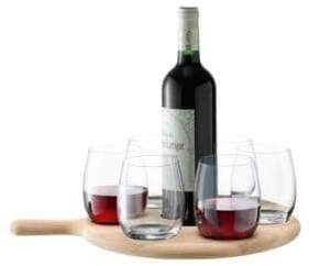 LSA International Paddle Water-Wine Serving Six Glass Set and Oak Paddle