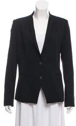 Helmut Lang Leather-Accented Long Sleeve Blazer