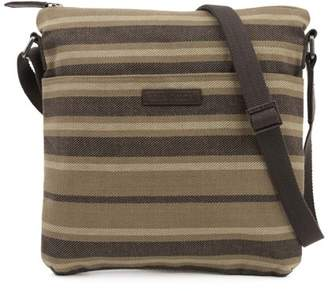Ashton & Willow Cedar Brown Country Handbags Elisha Explorer Crossbody Cotton Adjustable Strap Pewter Hardware Canvas Striped Crossbody