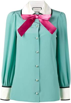 Gucci long sleeve pussy bow blouse