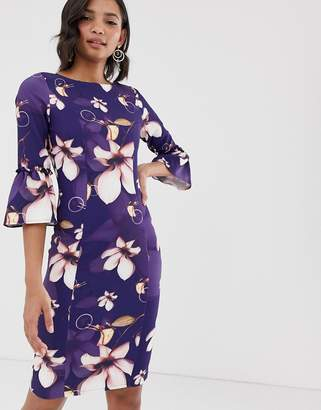 Paper Dolls all over print flute sleeves midi pencil dress
