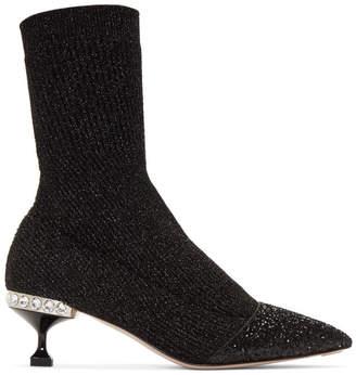 Miu Miu Black Glitter Sock Boots