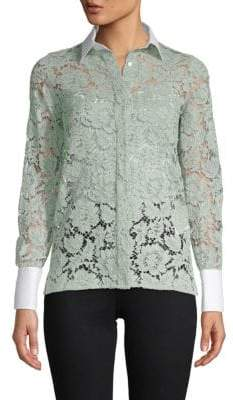 Valentino Lace Button-Down Shirt
