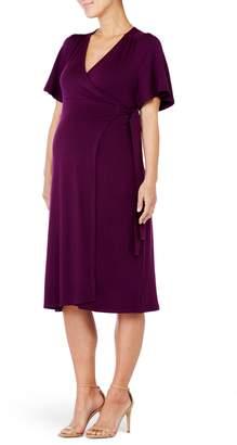 Ingrid & Isabel R) Flutter Sleeve Knit Wrap Maternity/Nursing Dress