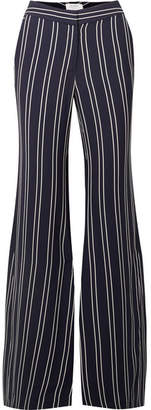 La Ligne - Striped Crepe Flared Pants - Navy