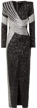 Balmain Wrap-effect Embellished Stretch-satin Gown - Black