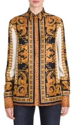 Versace Long-Sleeve Printed Silk Blouse
