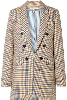 Veronica Beard Liss Houndstooth Cotton Blazer - Beige