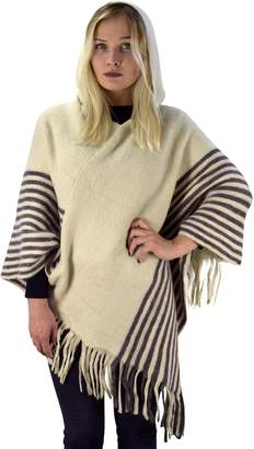 Couture Peach Women's Snug and Warm Crochet Hooded Fringe Wrap Shawl Poncho