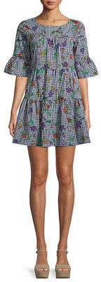 Romeo & Juliet Couture Floral-Print Gingham Tiered Mini Dress