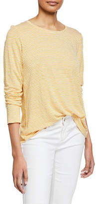 Eileen Fisher Striped Long-Sleeve Jersey Linen Shirttail-Hem Tee
