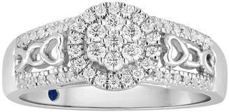 MODERN BRIDE I Said Yes 1/3 CT. T.W. Diamond Flower-Shaped Platinaire Bridal Ring