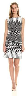 Julia Jordan Women's Short Sleeve Jewel Neck All Over Dot Dress