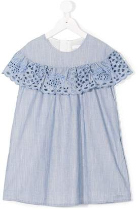Chloé Kids broderie anglaise-trimmed dress