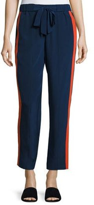 Tory Burch Desmond Side-Stripe Drawstring Pants, Navy Sea/Orange $295 thestylecure.com