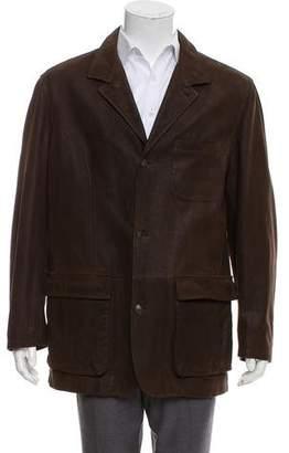 Loro Piana Cashmere Lined Leather Sport Coat