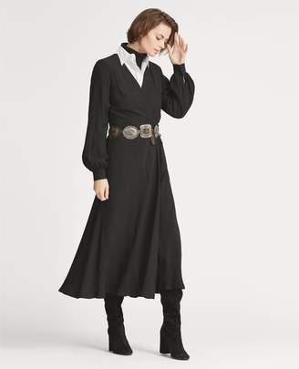 Ralph Lauren Crepe Wrap Midi Dress