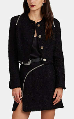 Alexander Wang Women's Zip-Detailed Metallic Wool-Blend Tweed Crop Jacket - Black