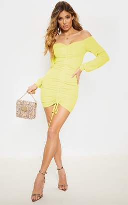 83eb0b3387 PrettyLittleThing Lime Ribbed Ruched Front Bardot Bodycon Dress